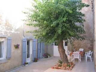 the shady terrace of our house close to Carcassonne and Narbonne